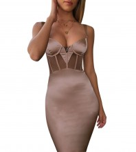 Nude Mesh Mini Sleeveless Strappy Bandage Dress PF19006-Nude