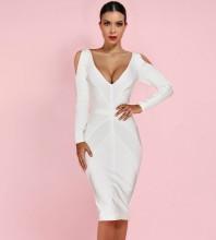 White V Neck Long Sleeve Over Knee Cut Out Fashion Bandage Dress PF19007-White