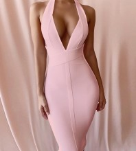 Pink Halter Sleeveless Over Knee Bandage Dress PF19008-Pink