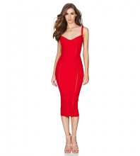 Red V Neck Sleeveless Over Knee Strapy Party Bandage Dress PF19020-Red