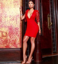 Red V Neck Cap Sleeve Mini Sequins Party Bandage Dress PF19030-Red