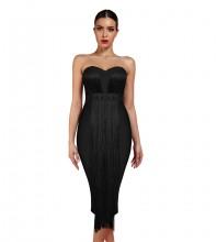 Black Strapless Sleeveless Over Knee Tassels Bandage Dress PF19034-Black