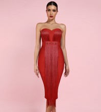 Red Tassels Over Knee Sleeveless Strapless Bandage Dress PF19034-Red