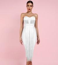 White Tassels Over Knee Sleeveless Strapless Bandage Dress PF19034-White