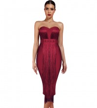 Over Knee Wine Strapless Sleeveless Tassels Bandage Dress PF19034-Wine