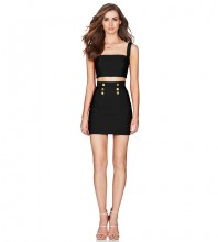 Black Strappy Sleeveless 2 Piece Metal Studded Mini Party Bodycon Dress PF19040-Black