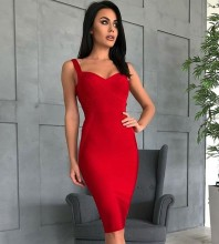 Red V Neck Sleeveless Over Knee Strapy High Quality Bandage Dress PF19047-Red