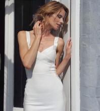 White V Neck Sleeveless Over Knee Strapy High Quality Bandage Dress PF19047-White