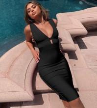 Black Cutout Mini Sleeveless V Neck Bandage Dress PF19056-Black