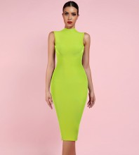 Neon Green High Neck Sleeveless Over Knee Bandage Dress PF19072-Neon-Green