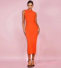 Neon Orange Over Knee Sleeveless High Neck Bandage Dress PF19072-Neon-Orange