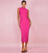 Neon Pink Over Knee Sleeveless High Neck Bandage Dress PF19072-Neon-Pink