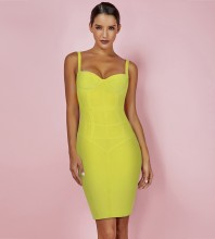 Yellow Strapy Sleeveless Over Knee Bandage Dress PF19076-Yellow
