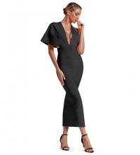 Black Asymmetrical Over Knee Short Sleeve V Neck Bandage Dress PF19077-Black