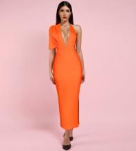 Orange Backless Maxi Short Sleeve V Neck Bandage Dress PF19077-Orange