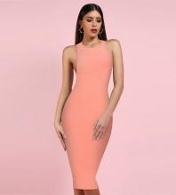 Pink Round Neck Sleeveless Over Knee Backless Bandage Dress PF19078-Pink