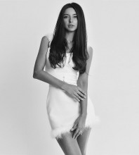 White Strapy Sleeveless Mini Plume Bandage Dress PF19079-White