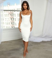 White Backless Metal Ornamental Buckle Over Knee Sleeveless Strappy Bandage Dress PF19105-White