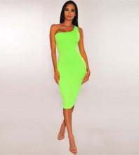 Neon Green Elegant Over Knee Sleeveless One Shoulder Bandage Dress PF19109-Neon-Green