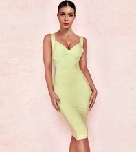 Light Yellow Elegant Mini Sleeveless Strapy Bandage Dress PF19114-Light-Yellow