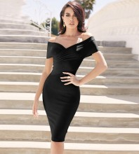 Black Distinctive Backless Midi Short Sleeve Off Shoulder Bandage Dress PF19122-Black