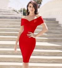 Red Distinctive Backless Midi Short Sleeve Off Shoulder Bandage Dress PF19122-Red