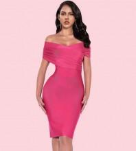 Rose Backless Distinctive Mini Short Sleeve Off Shoulder Bandage Dress PF19122-Rose