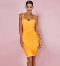 Orange Mini Sleeveless Strapy Bandage Dress PF19125-Orange