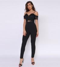 Black Lace Maxi Short Sleeve Strapy Bandage Jumpsuits PF19141-Black