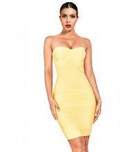 Yellow Mini Sleeveless Strapless Bandage Dress PF19143-Yellow