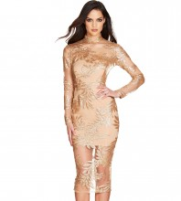 Gold Embroidered Lace Over Knee Long Sleeve High Neck Bandage Dress PF19146-Gold