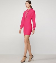 Rose Red Striped Mini Long Sleeve Round Neck Bandage Dress PF19150-Rose-Red