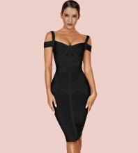 Over Knee Black Strappy Striped Bandage Dress PF19168-Black