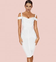 Over Knee White Strappy Striped Bandage Dress PF19168-White