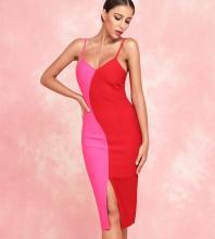 Rose Red Slit Over Knee Sleeveless Strapy Bandage Dress PF19172-Rose-Red