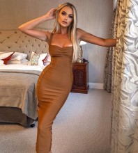 Brown Cutout Over Knee Sleeveless Strapy Bandage Dress PF19176-Brown