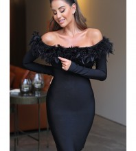 Black Plume Over Knee Long Sleeve Off Shoulder Bandage Dress PF19183-Black