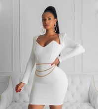 White Plain Mini Long Sleeve Square Collar Bandage Dress PF19184-White