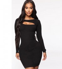 Black Cutout Mini Long Sleeve Round Neck Bandage Dress PF19202-Black