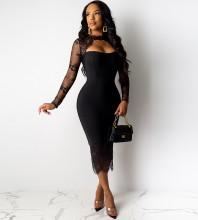 Over Knee Black Round Neck Long Sleeve Frill Cutout Bandage Dress PF19204-Black