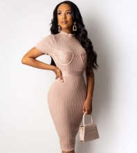 Over Knee Nude Round Neck Short Sleeve Striped Bandage Dress PF19206-Nude