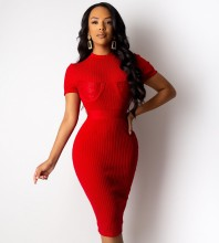 Over Knee Red Round Neck Short Sleeve Striped Bandage Dress PF19206-Red