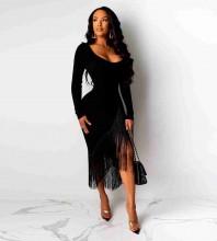 Black Off Shoulder Long Sleeve Over Knee Tassels Bandage Dress PF19207-Black