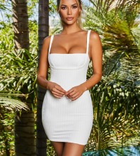 Mini White Strappy Striped Backless Bandage Dress PF19236-White
