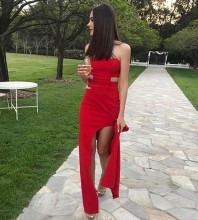 Maxi Red High Neck Cutout Slit Bandage Dress PF19241-Red