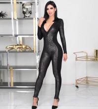 Maxi Black V Neck Long Sleeve Striped Bandage Jumpsuits PF19242-Black