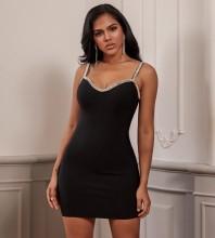Mini Black Strappy Sleeveless Rhinestone Backless Bandage Dress PF19248-Black