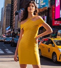 Mini Yellow Strappy Striped Backless Bandage Dress PF19253-Yellow