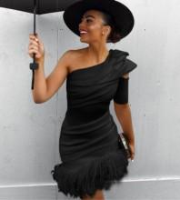 Black Tassels Asymmetrical Mini Short Sleeve One Shoulder Bandage Dress PF19310-Black