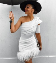 White Asymmetrical Tassels Mini Short Sleeve One Shoulder Bandage Dress PF19310-White
